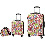 3-teiliges Trolley-Kofferset Reisekoffer Beauty Case FLOWER bunt
