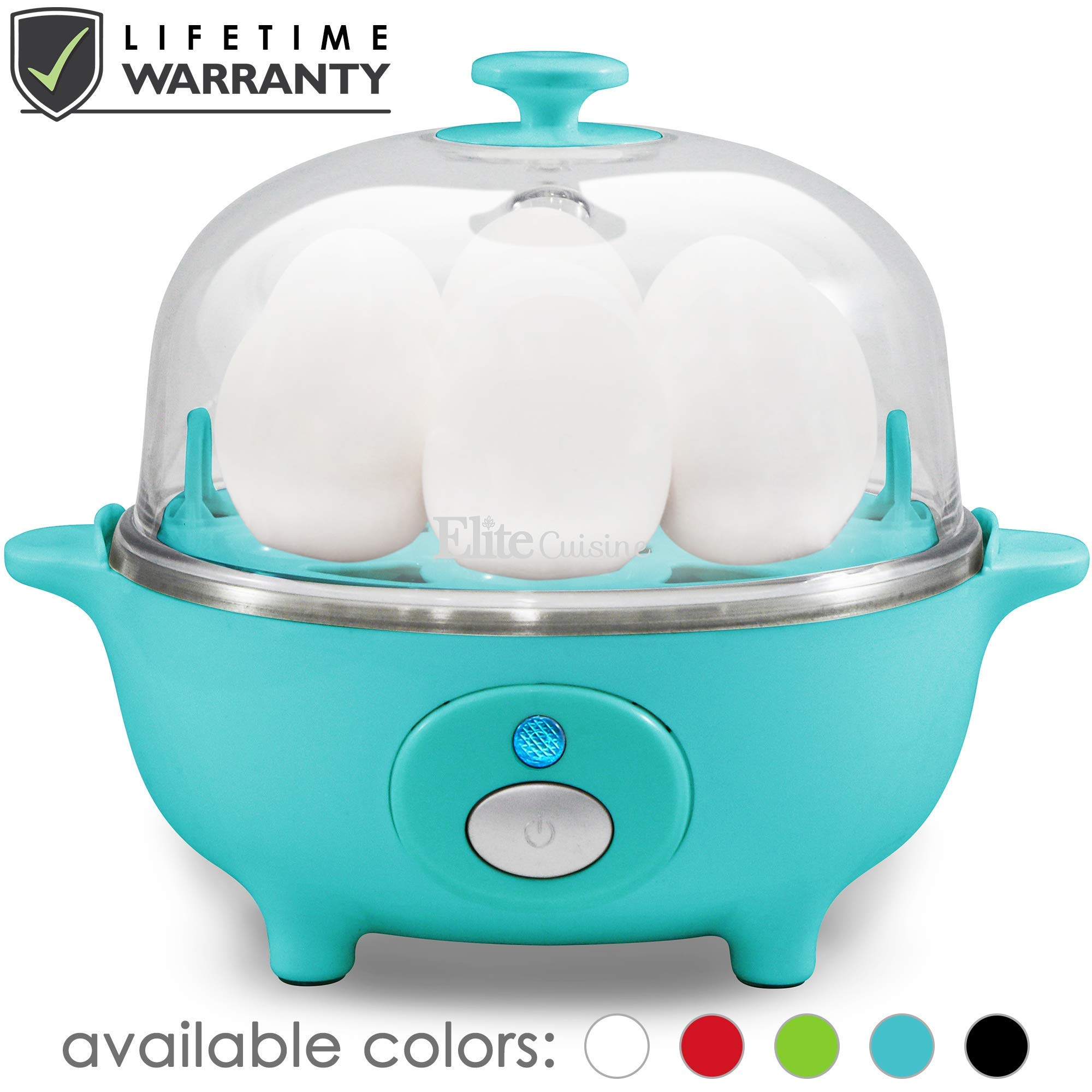 Maxi-Matic EGC-007T Easy Electric Egg Poacher, Omelet & Soft, Medium, Hard-Boiled Measuring Cup Included, 7 Capacity, Teal (Renewed) by Maxi-Matic