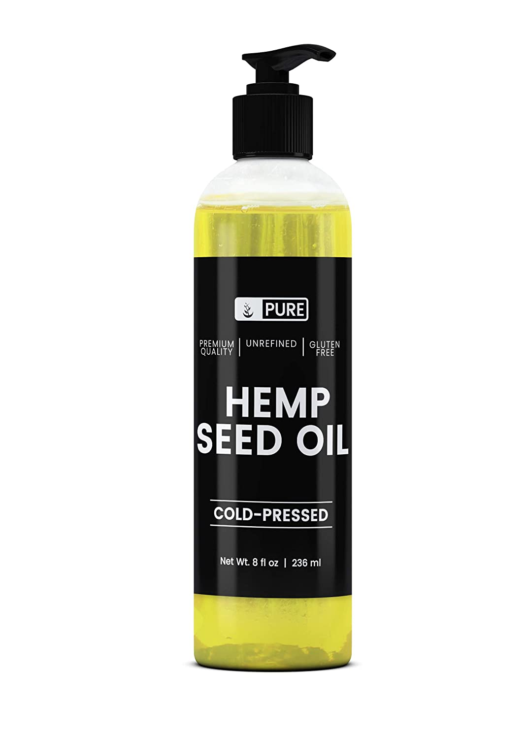 Premium Hemp Seed Oil, 8 fl oz, Cold Pressed & Unrefined, Food Grade, Natural, Cruelty-Free & Preservative-Free, BPA-Free & Recyclable, Made in the USA