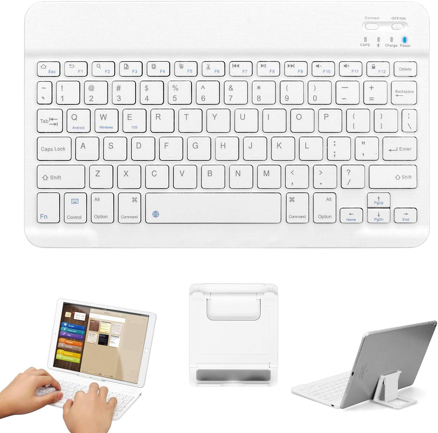 Teclado inalámbrico Bluetooth, GOOJODOQ Teclado Bluetooth 3.0 de 10 pulgadas con soporte aplicado a tabletas y teléfonos inteligentes IOS / Android / Windows (blanco)