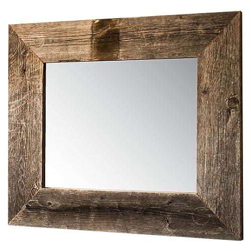 rustic wood mirror round drakestone designs mirror with barnwood frame wall mount handmade rustic reclaimed wood 17 mirrors amazoncom
