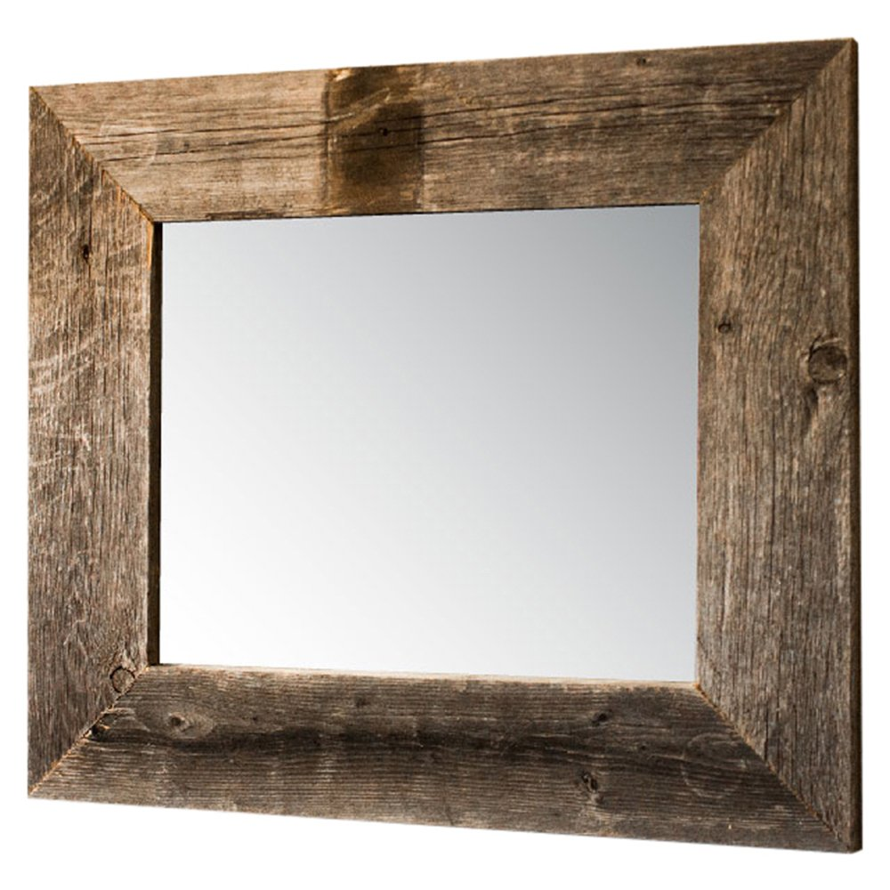 Drakestone Designs Mirror with Barnwood Frame | Wall Mount | Handmade Rustic Reclaimed Wood | 17 x 20 Inches (Natural)