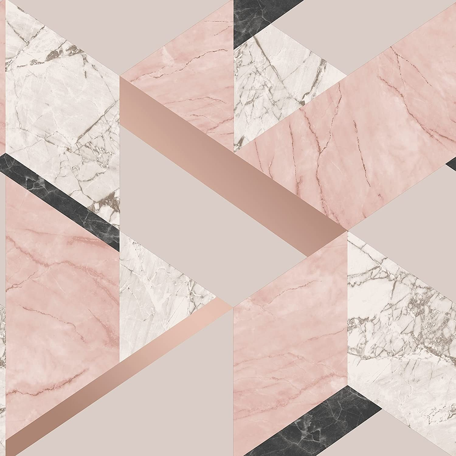 Fine Decor Marblesque Geometric Marble Wallpaper Blush Pink And Rose