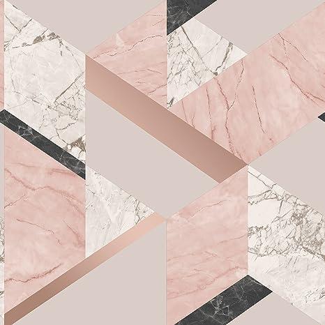 Fine Decor Marblesque Papier Peint Marbre Geometrique Blush Rose Et