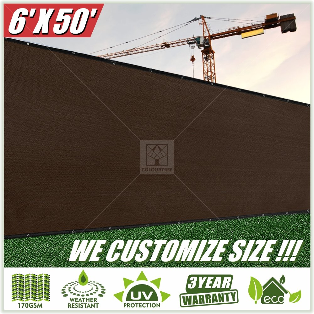 ColourTree 6' x 50' Fence Screen Privacy Screen Brown - Commercial Grade 150 GSM - Heavy Duty - 3 Years Warranty Custom (2)
