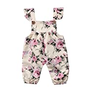 Newborn Toddler Baby Girls Flower Strap Romper Jumpsuit Playsuit Outfit Clothes (6-12 Months, Beige)