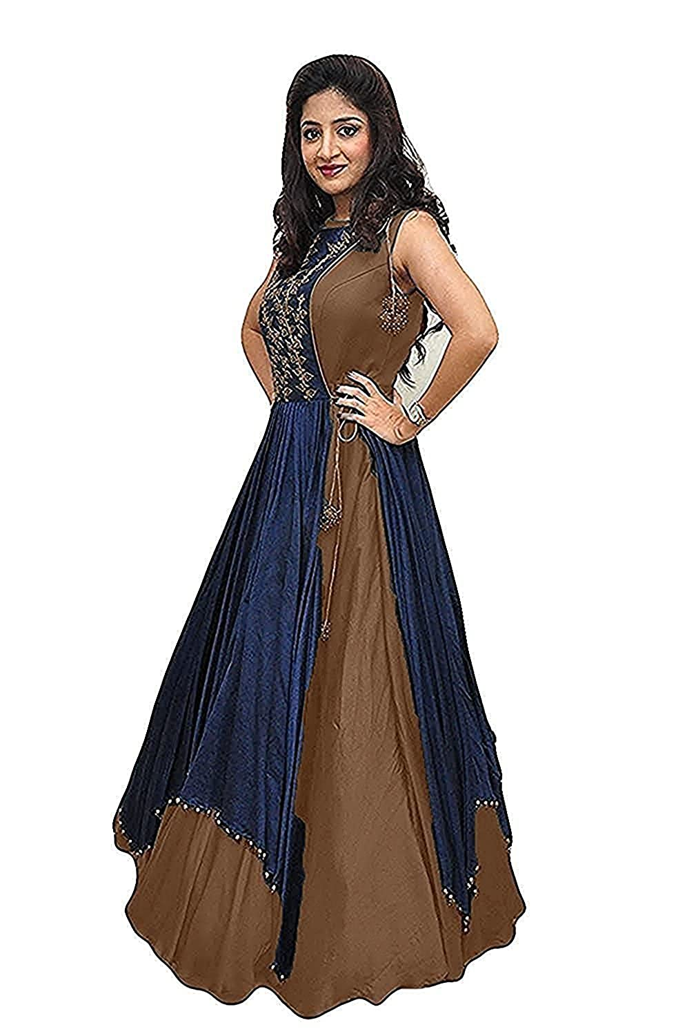 d2c94b984c0c New fancy Gowns for girls party wear 18 years latest sarees collection 2018  new design dress for girls by Ladli creation (chocalate)  Amazon.in   Clothing   ...
