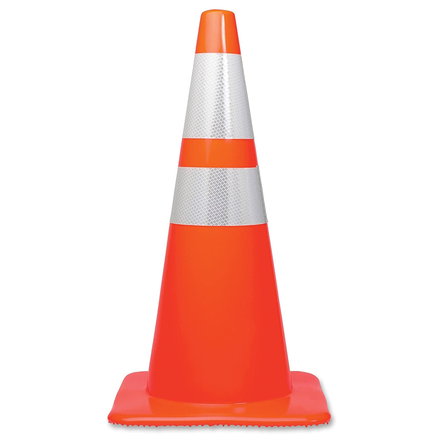 Tatco 28' Traffic Cone - 1 / Each - 28' Height, Stackable, Sturdy, Orange, Silver (TCO25900)