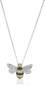 Amazon Collection18K Yellow Gold Plated Sterling Silver Multi-Colored Swarovski Crystal Bumble Bee Pendant Necklace, 18