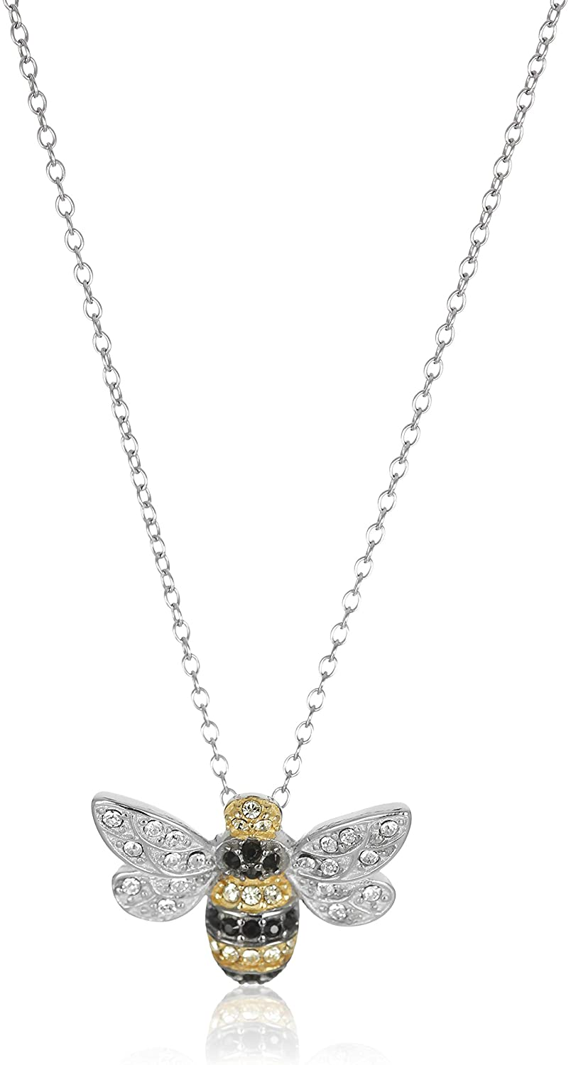 """Sterling Silver Bumblebee Pendant Necklace Made with Swarovski Crystal (18"""")"""