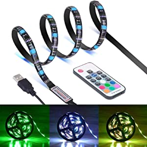 TV Backlight Light Kit, 6.56FT/2M 5V USB LED Lights Strips 5050 RGB Bias Lighting with 17Key Remote for HDTV Desktop PC Monitor Home Theater Kitchen Cabinets, Multi Color