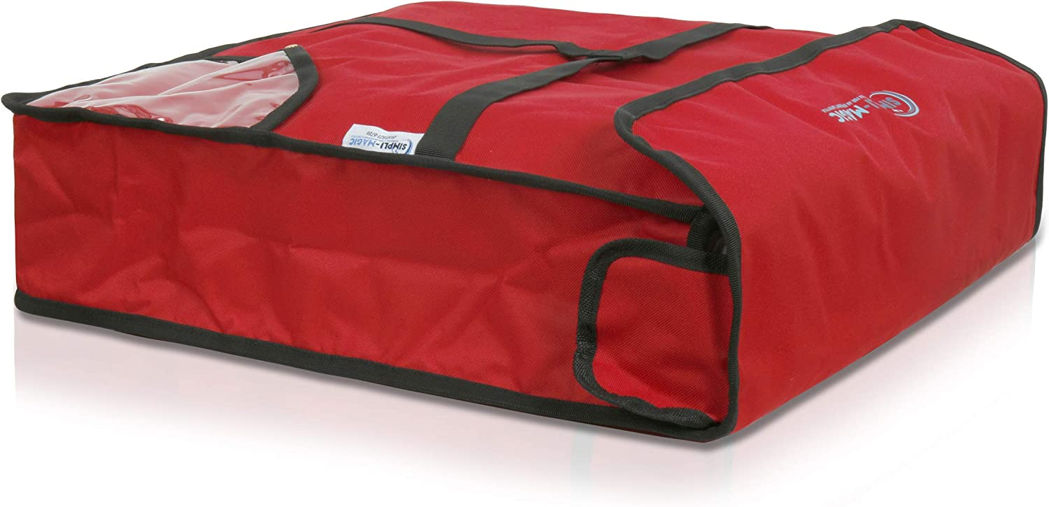 """Simpli-Magic 79303 Thermal Insulated Food Reusable Grocery Pizza Bag for Catering, Restaurants, Delivery, 20"""" x 20"""" x 5"""", Red"""