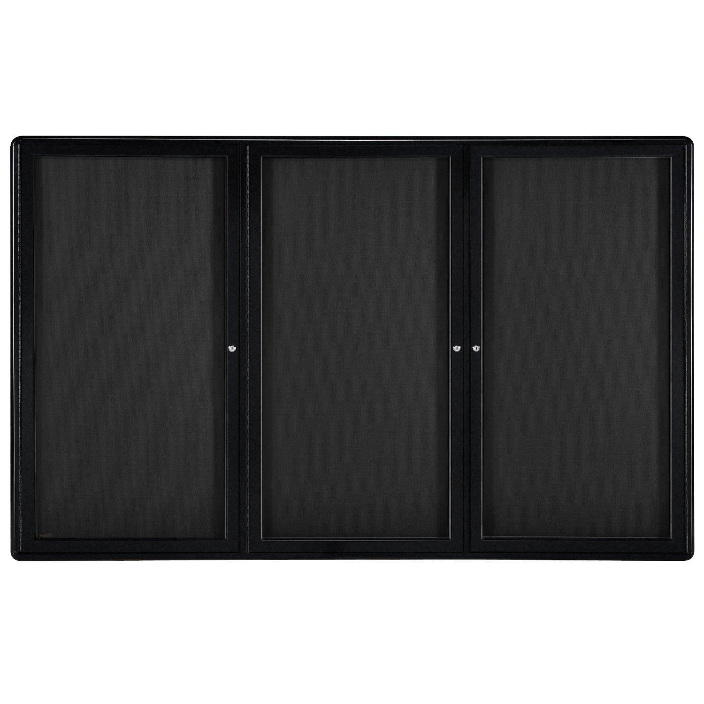 48''x72'' 3-Door Ovation Bulletin Board, Black Fabric, Black Frame