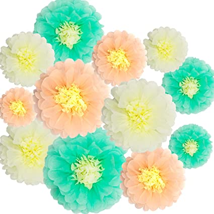 Paper Flowers Decorations 12 Pcs Tissue Paper Flower Diy Crafting For Wedding Backdrop Nursery Wall Baby Shower Decoration Mint