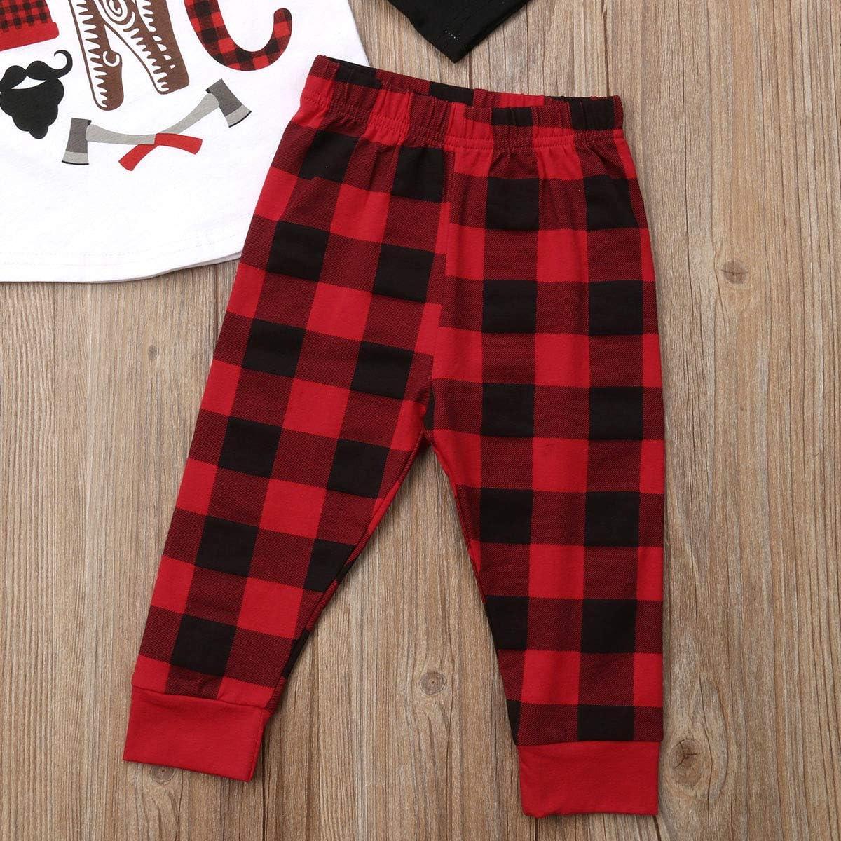 Newborn Baby Boys Girls Clothes Wild One Print Stitching Shirt Top+Red Black Plaid Long Pants Christmas 2pcs Outfits Set