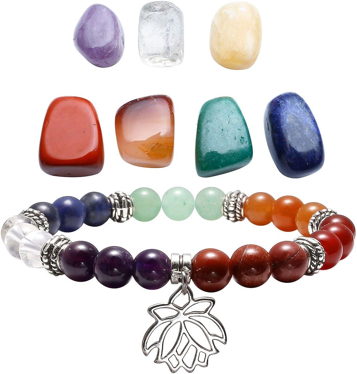 qgem joyas 7Chakra Healing piedras preciosas formlos Feng Shui Reiki Energía Terapia Yoga Decoración + Balance de Buda pulsera con Lotus Colgante para mujer hombre