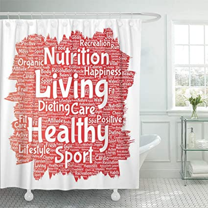 Shower Curtain 72 X Inches Conceptual Healthy Living Positive Nutrition Sport Paint Brush Word Cloud