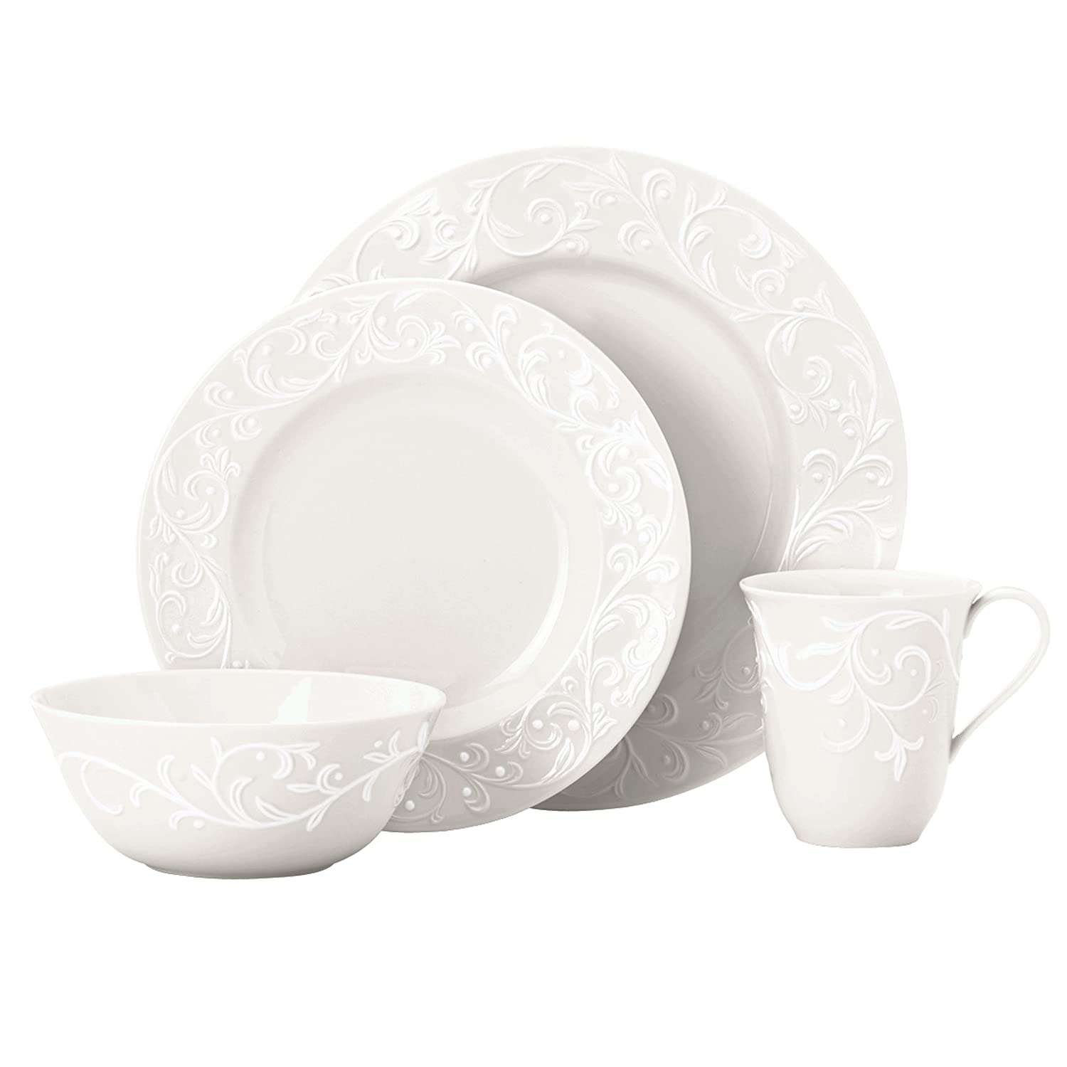 Christmas Tablescape Décor - Lenox Opal Innocence carved white porcelain 20-Pc dinnerware set - Service for 4