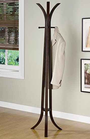 Modern Decor Coat Rack Entryway Hall Tree With Four Hangers In Cappuccino  Solid Wood Finish.