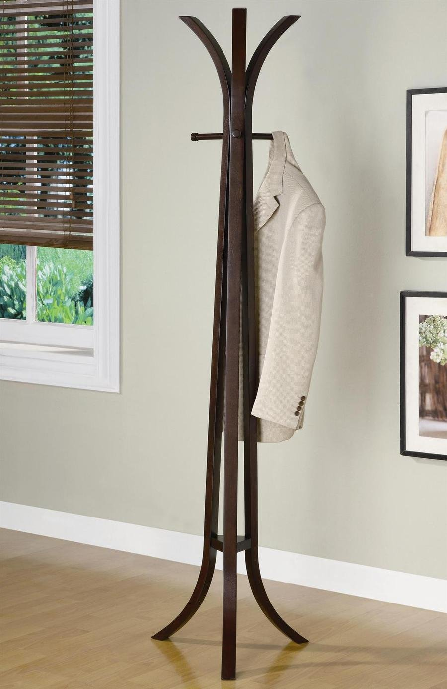 Modern Decor Coat Rack Entryway Hall Tree With Four Hangers In Cappuccino Solid Wood Finish. (Item# Vista Furniture CF900816)
