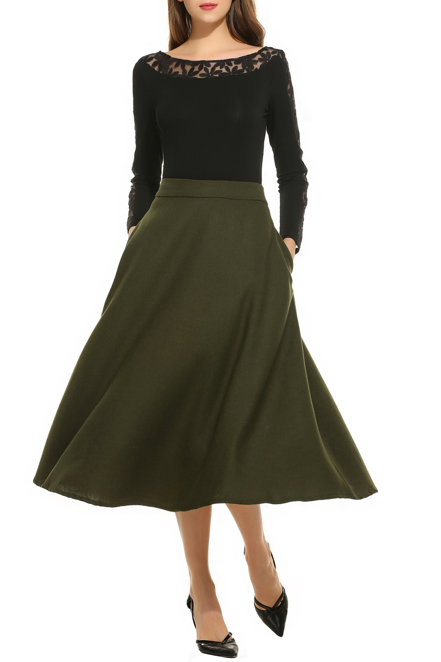 Finejo Women High Waisted Solid A-Line Flared Swing Long Skirt With Pockets