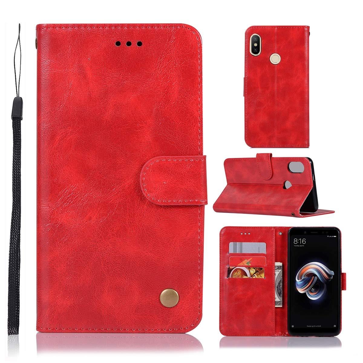 MEIRISHUN Xiaomi Redmi Note 6 Pro Case, [Vintage Lines] [High-end Series] PU Leather Wallet Flip Cover Folio Case Cover Xiaomi Redmi Note 6 Pro - Gray