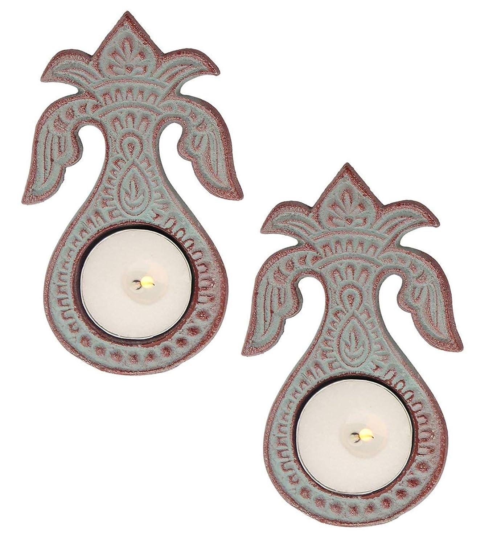 Store Indya Set of 2 Metal Tealight Candle Holders – Diwali Kalash Diya Reusable Decorative Festive (Design 2)