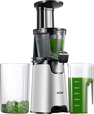 Aicok Juicer Masticating Juicer Machine 3 in 1 Slow Juicer with Reverse Function, Vertical Cold Press Juicer Making Juice, Jam and Sorbet, 150W