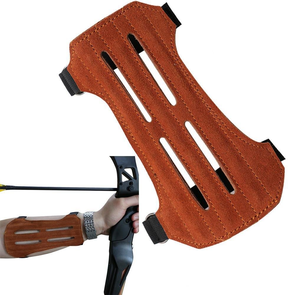 Toparchery Leather 2 Straps Arm Guard & 3 Finger Protective Gloves for Recurve Compound Long Bow Hunting Shooting Brown by Toparchery (Image #2)