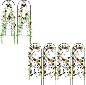 "Amagabeli 2 Pack Garden Trellis 60"" x 18"" &Amagabeli 4 Pack Garden Trellis for Climbing Plants 46"" x 15"" Bundle"