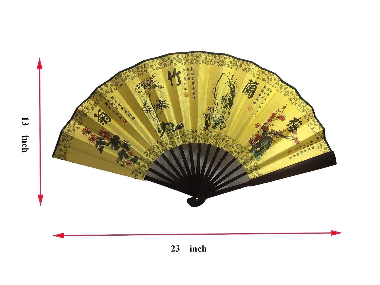 Amazon.com: Chinese Bamboo Folding Fan with Mei Lan Zhu Ju for Wall ...