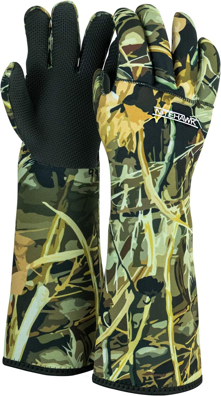 "High Grip /& Ultra Warm 18/"" Camouflage Nitehawk Neoprene Waterproof Fishing Decoy Gloves"