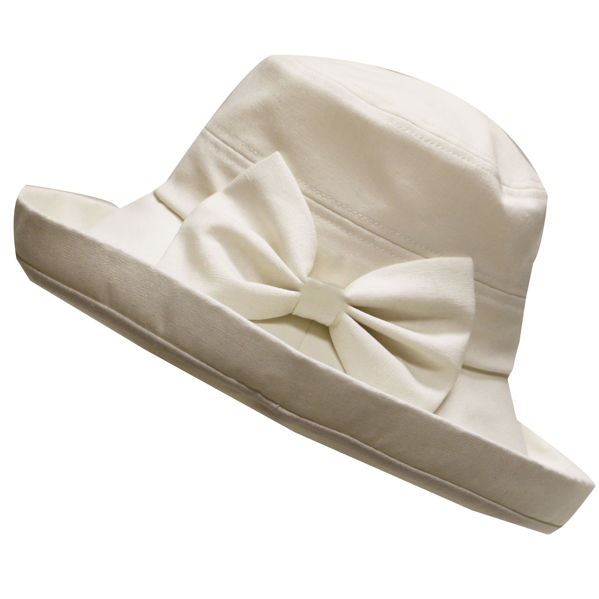 APPARELISM Women's Summer SPF 50 Foldable Packable Sun Hat with Bow.(Beige)