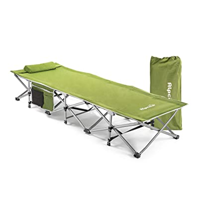 Alpcour Folding Camping Cot – Extra Strong Single Person Small-Collapsing Bed in a Bag w/Pillow for Indoor & Outdoor Use – Deluxe Comfortable Extra Heavy Duty Design Holds Adults & Kids Up to 440 Lbs: Sports & Outdoors