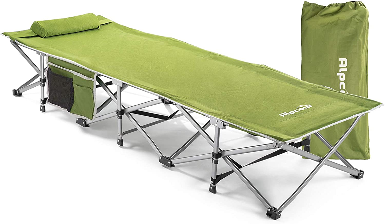 - Amazon.com: Alpcour Folding Camping Cot – Extra Strong Single Person  Small-Collapsing Bed In A Bag W/Pillow For Indoor & Outdoor Use – Deluxe  Comfortable Extra Heavy Duty Design Holds Adults & Kids