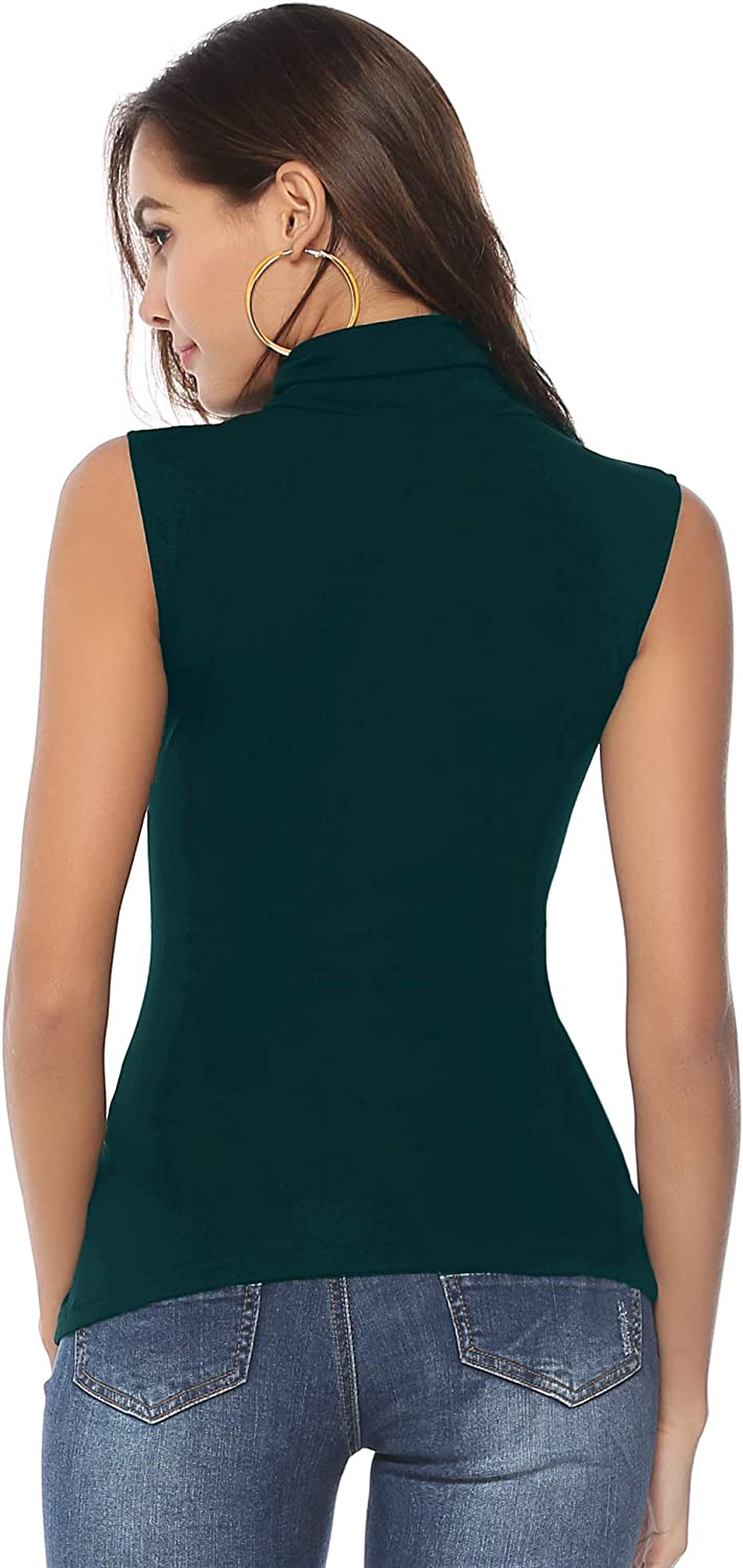 Abollria Womens Turtle Polo Neck Sleeveless Stretchy Bodycon Casual T-Shirt Jumper Top