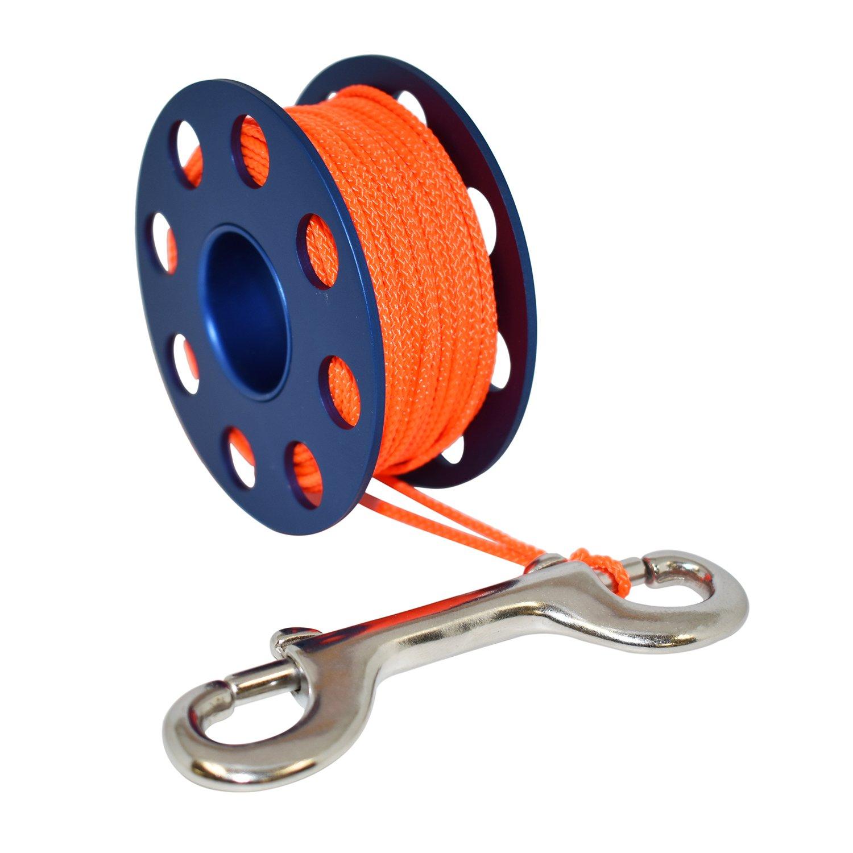 Scuba Choice Aluminum Finger Spool 75ft Dive Reel w/Bolt Snap-Blue/Orange