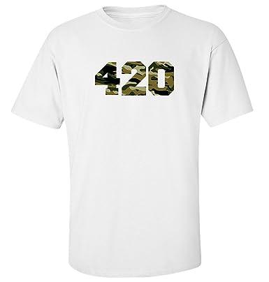 fbd3a987f86f Nothingtowear Camouflage 420 Logo Dope t-Shirt Herren Baumwoll Weiss (S)