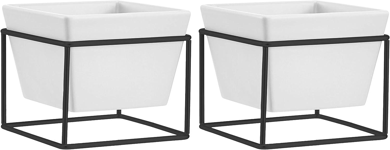 carr/ée Lot de 3 Blanc//Cuivre Basics Jardini/ère de table