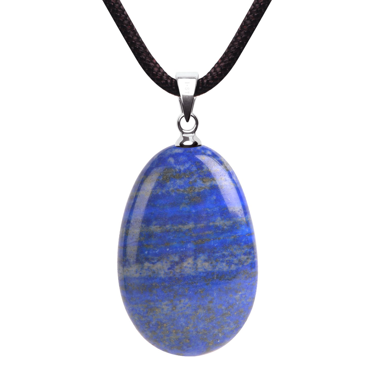 iSTONE Natural Gemstone Lapis Lazuli Water Drop Lucky Birth Stone Pendant Necklace for Men & Women Rope Chain 18 Inch