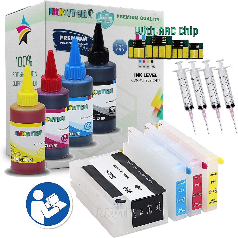 INKUTEN cartuchos recargables para HP 711 Cartucho de tinta compatible con impresoras HP DesignJet: T120, y T525 con 4 x 100ml tinta de colorante, Auto Reset Chips: Amazon.es: Oficina y papelería