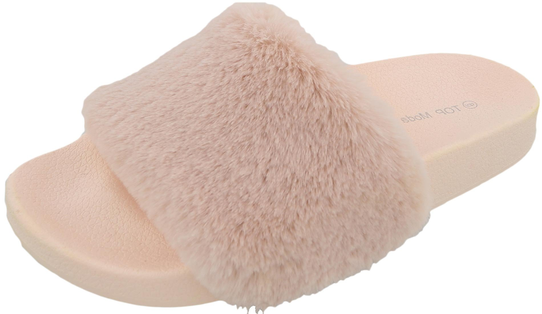 Top Moda Women's Faux Marabou Fur Slide Flip Flop Sandal (7 B(M) US, Blush)