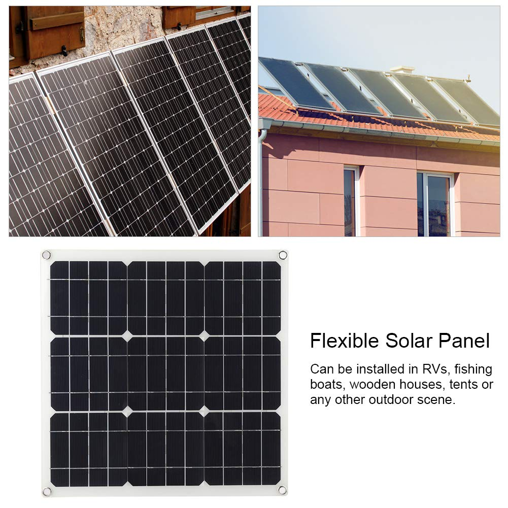 30W Solar Panel Flexible Solar Panel Kit with 4 m Clip Cable Battery Charging for Boat Caravan Motorhome 420 x 420 x 2.5 mm