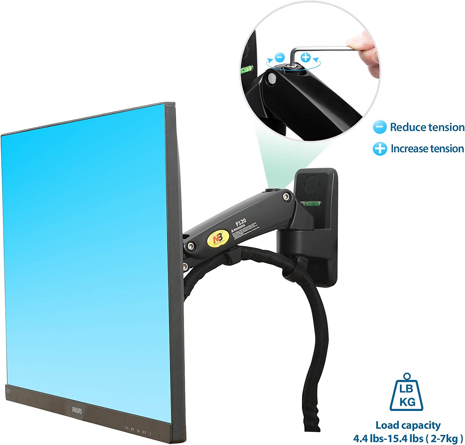 NB North Bayou TV Monitor Wall Mount Bracket Full Motion Articulating Swivel for 17-27 Inch Monitors with Gas Spring (Black Single Extension) F120-B