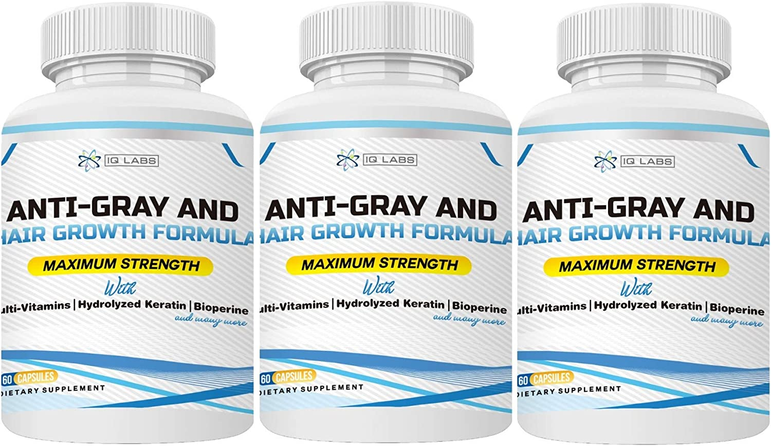 Anti-Gray and Hair Growth Formula | Multivitamin Pills+ Hydrolized Keratin+Biotin+ Bioperine for Breakage & Graying Prevention | Promotes Regrowth for All Hair Types (3-Pack (180 Capsules))