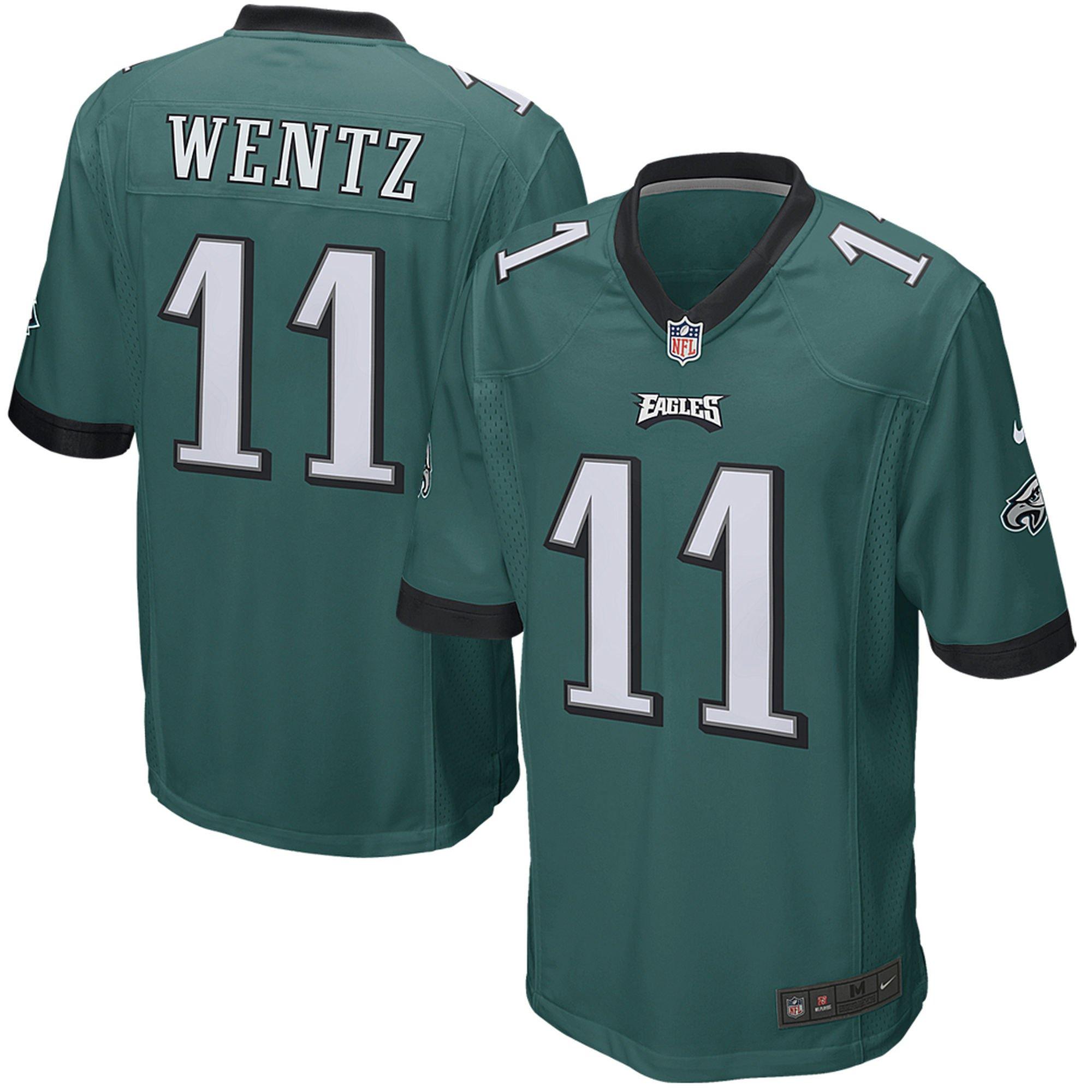 Carson Wentz Philadelphia Eagles Nike Green Game Jersey - Men's Medium by NIKE