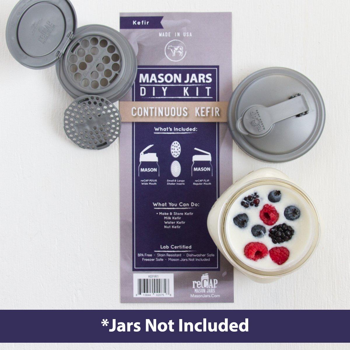 reCAP Mason Jars DIY Kit - Continuous Kefir: Jars Not Included