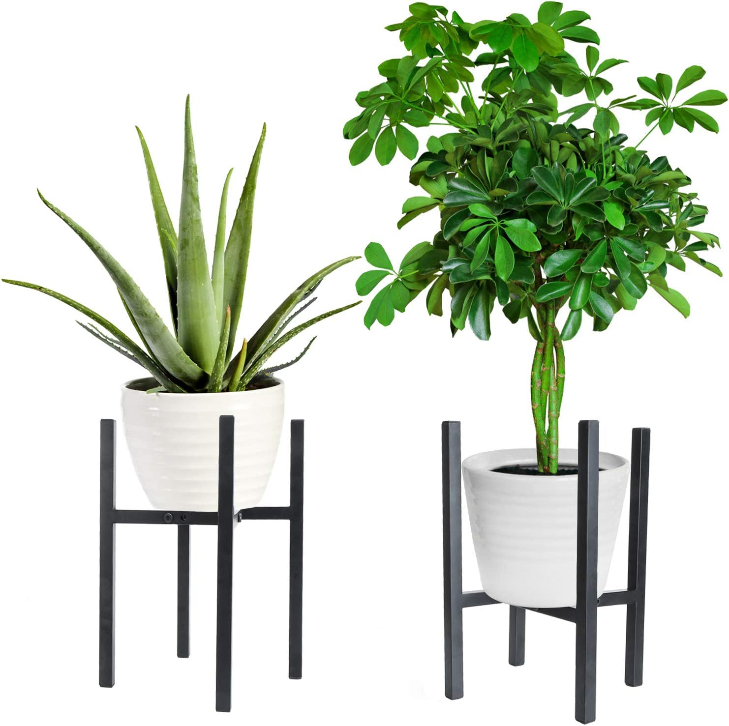 Metal Plant Stand Iron Combination for Indoor and Outdoor Garden terraces Adjustable Size Fits 7 to 10 Inches Plant Pots 2 pcs (Black)