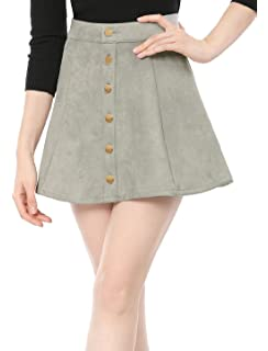 5a75f0b11cee Allegra K Women s Faux Suede Single Breasted Front Button Mid Rise Mini A- Line Skirt