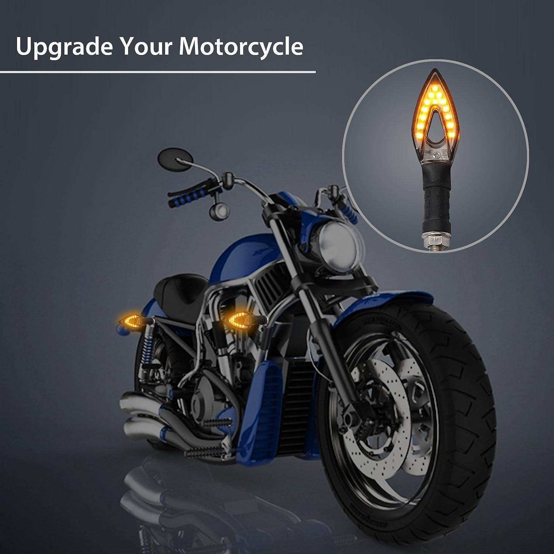Justech 4PCS Intermitente Moto Luz de Indicadores de la Motocicleta /Ámbar E11 Luces de Se/ñal de la Moto Luces Traseras Delanteras para Motocicleta Scooter Quad Off Road Plata